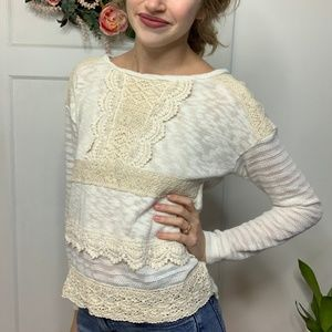 One September Anthropologie Ivory Crochet Lace Top